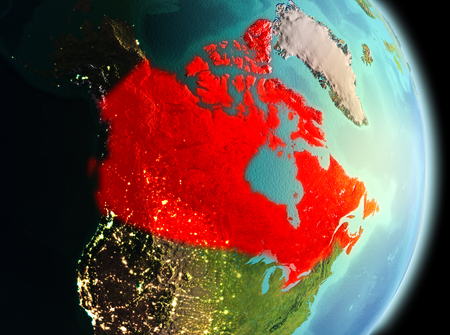 Early morning view of Canada highlighted in red on planet Earth. 3D illustration.