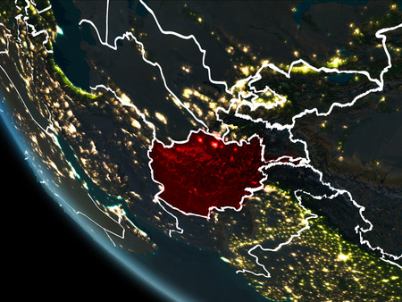 Satellite View Of Afghanistan Highlighted In Red On Planet Earth - Satellite map of us at night