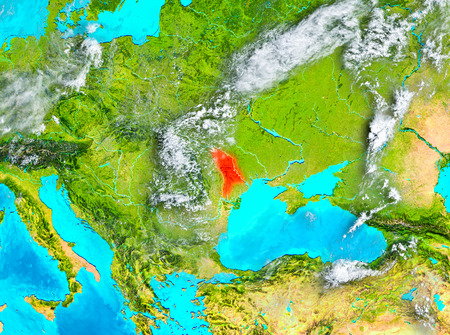 Moldova highlighted in red on planet Earth. 3D illustration. Stock Illustration - 92614326