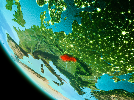 Country of Slovakia in red on planet Earth in the evening. 3D illustration.
