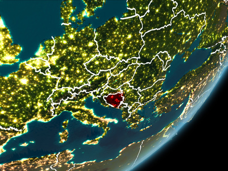 Bosnia and Herzegovina as seen from Earth orbit on planet Earth at night highlighted in red with visible borders and city lights. 3D illustration.