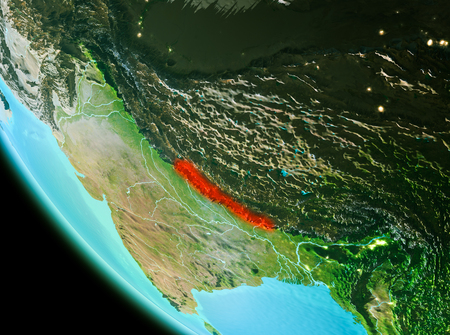 Country of Nepal in red on planet Earth in the evening. 3D illustration. Stock Photo