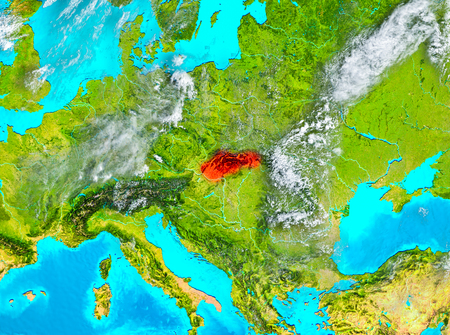 Slovakia highlighted in red on planet Earth. 3D illustration.