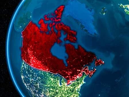 Space orbit view highlighted in red on planet Earth at night with visible country borders and city lights. Stock Photo