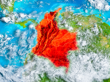 Colombia highlighted in red on planet Earth. 3D illustration. Reklamní fotografie - 92568984
