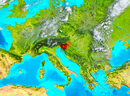 Slovenia highlighted in red on planet Earth. 3D illustration.