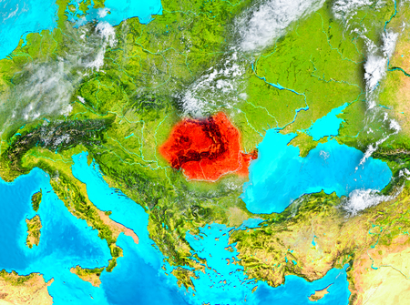 Romania highlighted in red on planet Earth. 3D illustration.