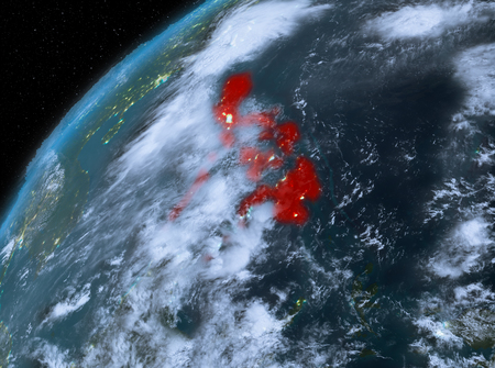 Illustration of Philippines as seen from Earth's orbit at night. 3D illustration.