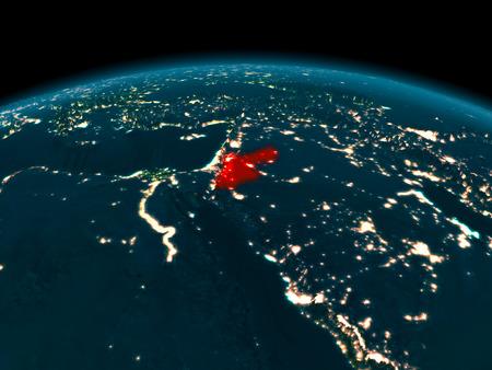Land van Jordanië in het rood op de planeet Aarde in de nacht. 3D illustratie.