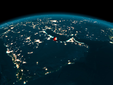 Country of Qatar in red on planet Earth at night. 3D illustration.
