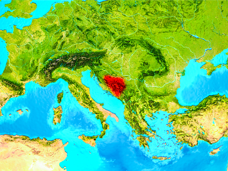 Bosnia and Herzegovina highlighted in red on planet Earth. 3D illustration.