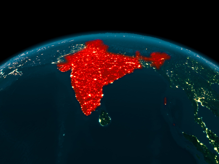 Country of India in red on planet Earth at night. 3D illustration. Stock Photo