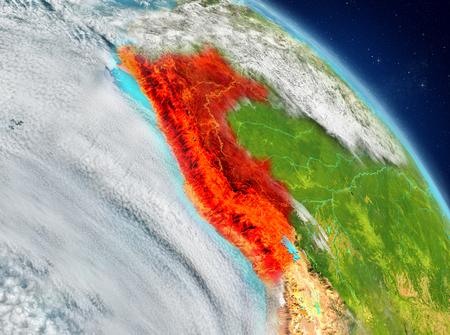 Ilustración de Perú vista desde la órbita de la Tierra. Ilustración 3D.