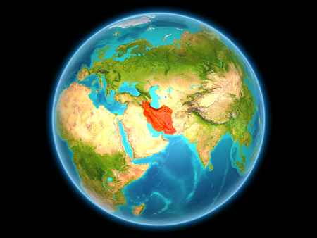 Iran in red on planet Earth as seen from space on full sphere. 3D illustration.