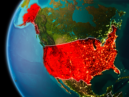 Evening over USA as seen from space on planet Earth with visible border lines and city lights. 3D illustration