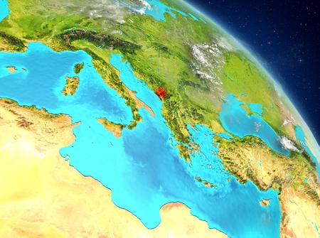 Illustration of Montenegro as seen from Earth's orbit. 3D illustration. Stock Photo