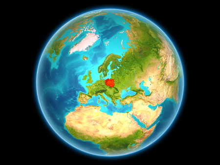 Poland in red on planet Earth as seen from space on full sphere. 3D illustration. 免版税图像
