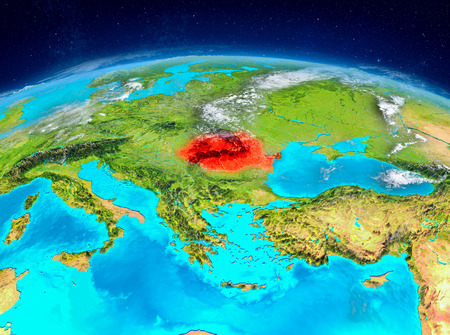 Orbit view of Romania highlighted in red on planet Earth with highly detailed surface textures. 3D illustration. Imagens