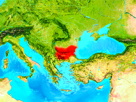 Bulgaria highlighted in red on planet Earth. 3D illustration.