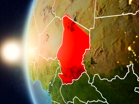 Illustration of Chad as seen from Earth's orbit during sunset with visible country borders. 3D illustration.