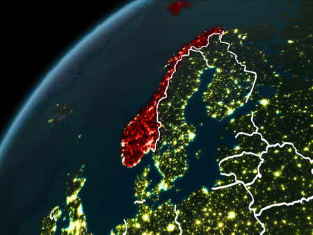 Norway in red on planet Earth at night with visible borderlines and city lights. 3D illustration.