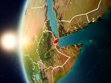 Illustration of Djibouti as seen from Earth's orbit during sunset with visible country borders. 3D illustration.