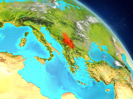 Illustration of Serbia as seen from Earth's orbit. 3D illustration. Stock Photo