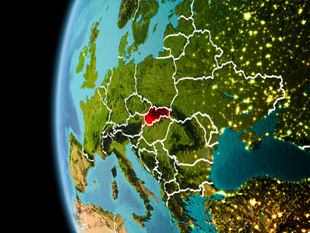 Evening over Slovakia as seen from space on planet Earth with visible border lines and city lights. 3D illustration.