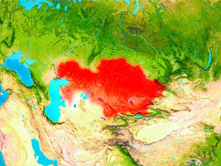 カザフスタンは地球上で赤で強調表示されています。3Dイラスト。