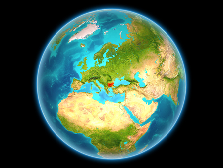 Bulgaria in red on planet Earth as seen from space on full sphere. 3D illustration.
