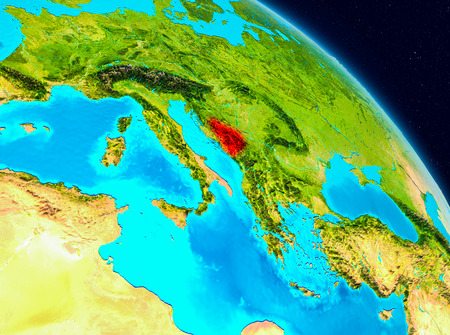 Space view of Bosnia and Herzegovina highlighted in red on planet Earth. 3D illustration. Stock Photo