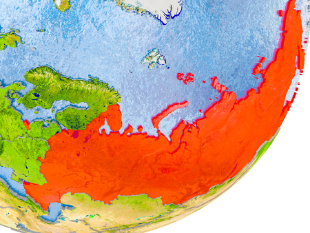 3D render of Russia on political globe with embossed countries with real land surface and water in place of ocean. 3D illustration.