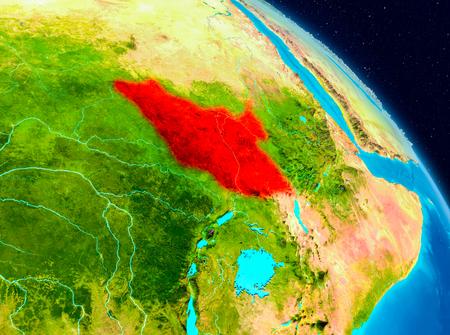 남 수단의 공간보기 행성 지구에 빨간색으로 강조 표시합니다. 3D 그림입니다. 스톡 콘텐츠 - 92715299