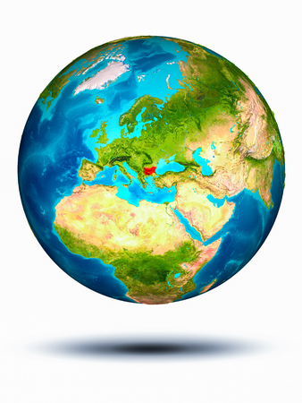 Bulgaria in red on model of planet Earth hovering in space. 3D illustration isolated on white background.