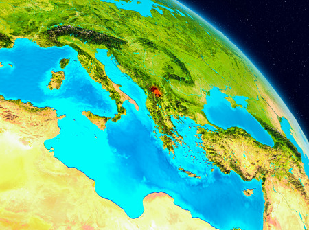 Space view of Kosovo highlighted in red on planet Earth. 3D illustration.
