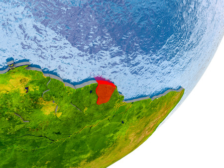 3D render of French Guiana on political globe with embossed countries with real land surface and water in place of ocean. 3D illustration. Stock Photo