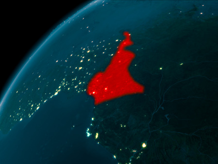 Night map of Cameroon as seen from space on planet Earth. 3D illustration.