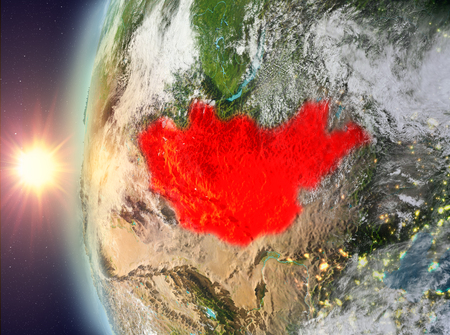 Mongolia as seen from space on planet Earth during sunset. 3D illustration.