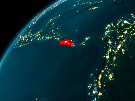 Night map of Costa Rica as seen from space on planet Earth. 3D illustration. Stock Photo