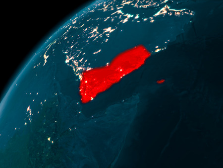 Night map of Yemen as seen from space on planet Earth. 3D illustration.