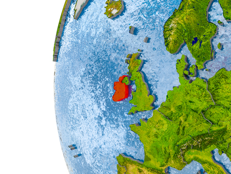 Ireland in red on globe with real land surface, visible country borders and water in place of ocean. 3D illustration.