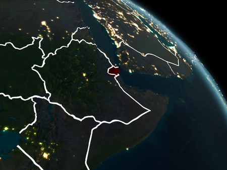 Djibouti from orbit of planet Earth at night with visible borderlines and city lights. 3D illustration.