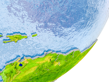 3D render of Caribbean on political globe with embossed countries with real land surface and water in place of ocean. 3D illustration.