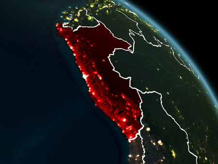 Peru from orbit of planet Earth at night with visible borderlines and city lights. 3D illustration. Stock Photo