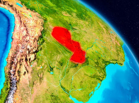 Space view of Paraguay highlighted in red on planet Earth. 3D illustration.