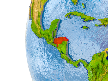 Honduras in red on globe with real land surface, visible country borders and water in place of ocean. 3D illustration. Stock Photo