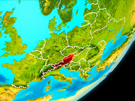 Map of Austria in red as seen from space on planet Earth with white borderlines. 3D illustration.
