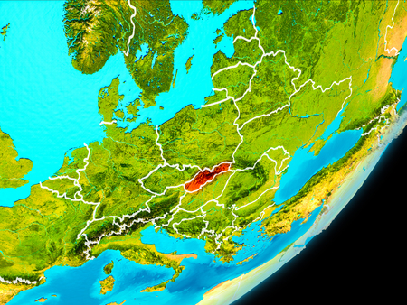 Map of Slovakia in red as seen from space on planet Earth with white borderlines. 3D illustration. Stock Photo