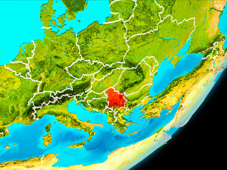 Map of Serbia in red as seen from space on planet Earth with white borderlines. 3D illustration. Stock Photo