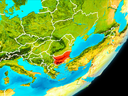 Map of Bulgaria in red as seen from space on planet Earth with white borderlines. 3D illustration. Stock Photo